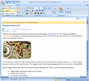 Use Office 2007 As Your Blogging Software