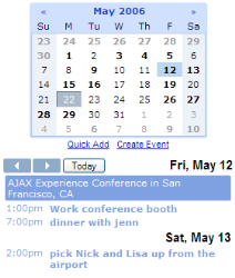 Official Google Calendar Gadget For Personalized Homepage