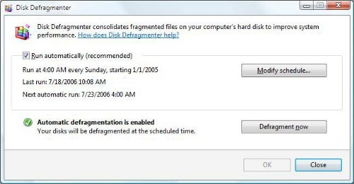 Microsoft Automatically Schedules Defragmentation In Vista