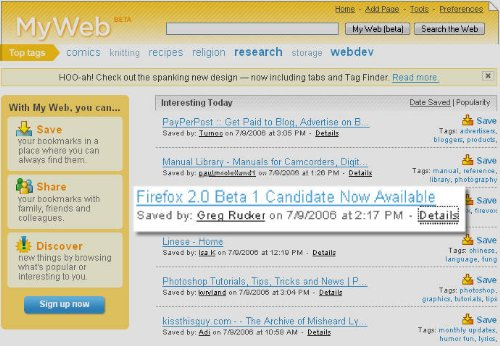 Yahoo MyWeb Get's A Facelift