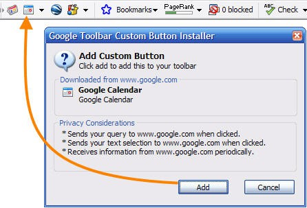 Google Toolbar Button IE