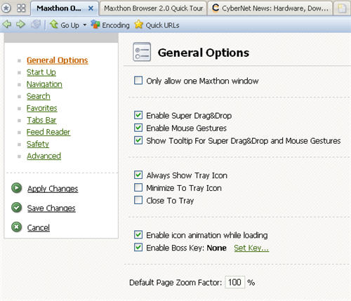 Maxthon 2 Preview Options