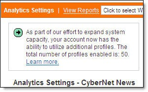 Google Analytics Profile Increase