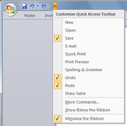 Office 2007 Quick Access Toolbar