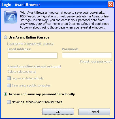 Avant Browser Online Storage