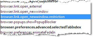 browser.link.open_newwindow.restriction Firefox Configuration