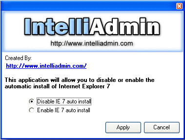 Disable IE7 Automatic Install