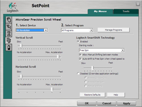 SetPoint Scroll wheel