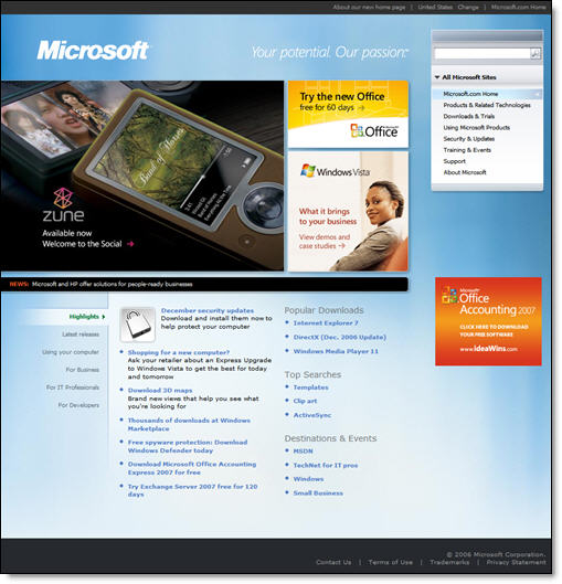Microsoft's New Homepage