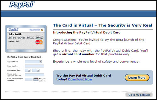 PayPal Fighting Fraud with Virtual Debit Card