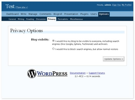 WordPress Search Engine Privacy