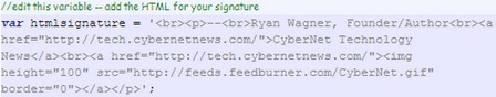 Greasemonkey HTML signature