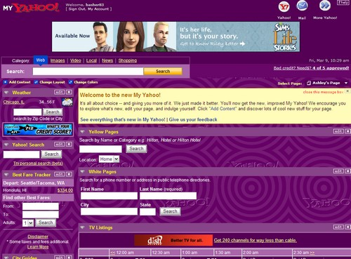 Yahoo Redesigns Personalized Homepage, My Yahoo!