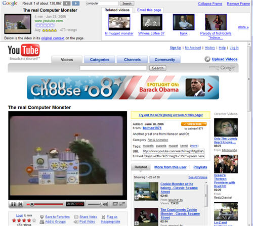 Google has implemented a new frame at the top of the Google Video Search,