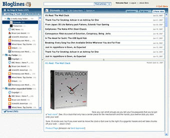 Bloglines Beta 3-Pane View