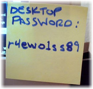 Post-it Note on Monitor with Password