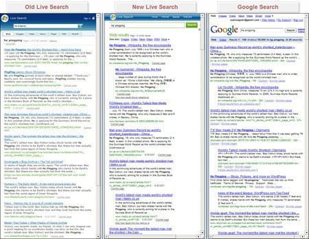 New Live Search vs. Google