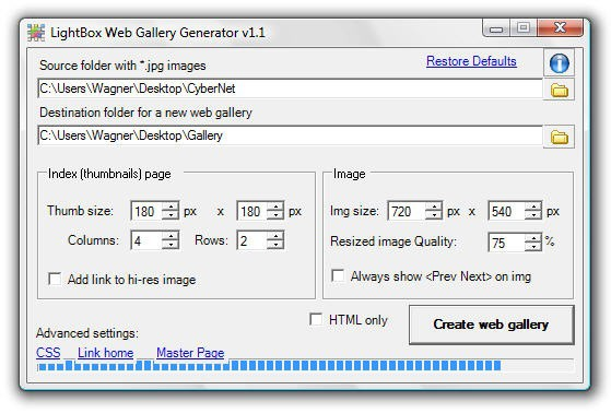 LightBox Web Gallery Generator