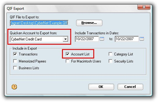 Quicken QIF Export