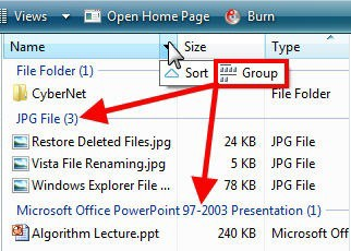 Windows Explorer Grouping