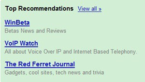 top recommendations google reader