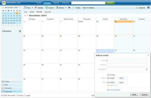 Windows Live Calendar Screenshot