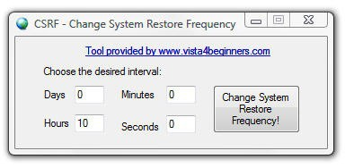 Change System Restore Frequency