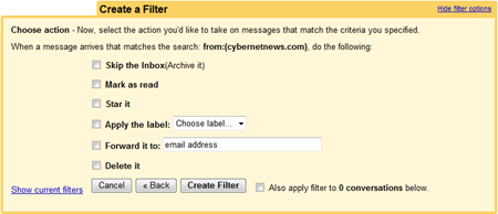 Gmail Filter Options