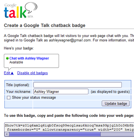 google talk chatback badge