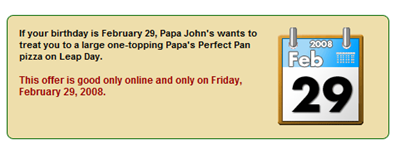 pappa johns leap year