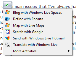 ie8 activities button
