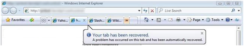 ie8 recovered tabs