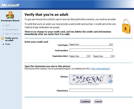 Microsoft verify adult