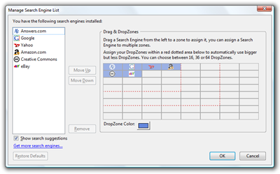 drag dropzones configure