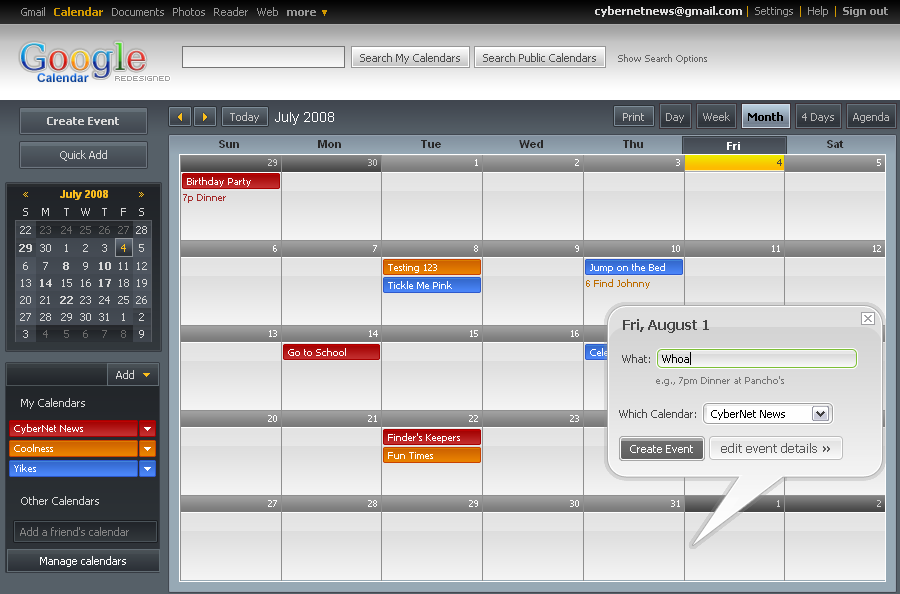 dark google calendar theme for firefox users