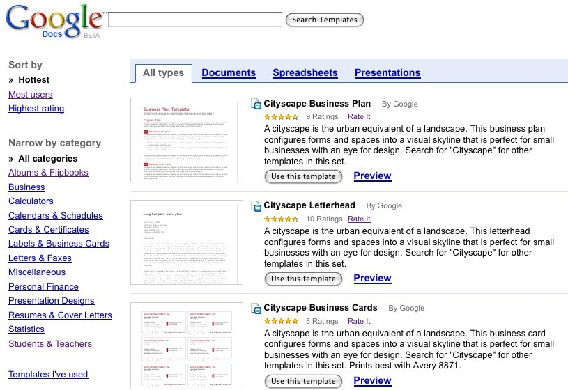 Google Docs Gets Impressive Templates Gallery