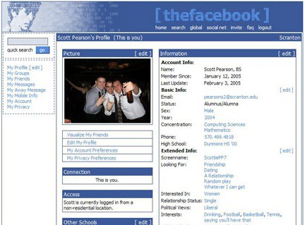 Below you'll find a screenshot of the original Facebook just to bring back