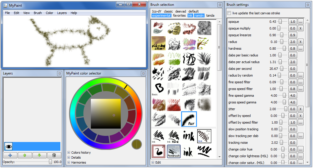 Mypaint open source digital painting software Digital art painting software
