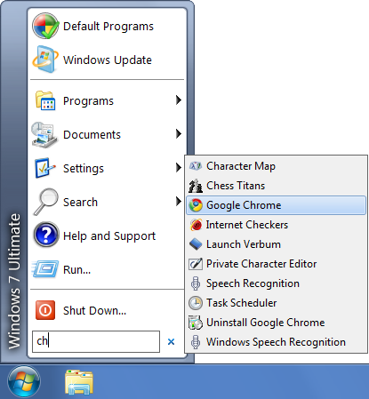 Classic aero start menu search