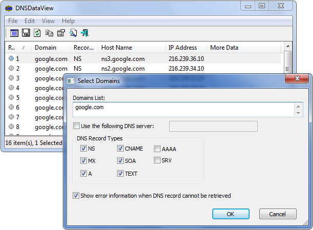 Nslookup gui interface