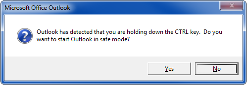 Outlook safe mode