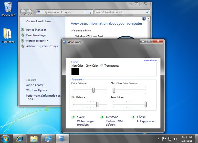 Windows 7 home basic color