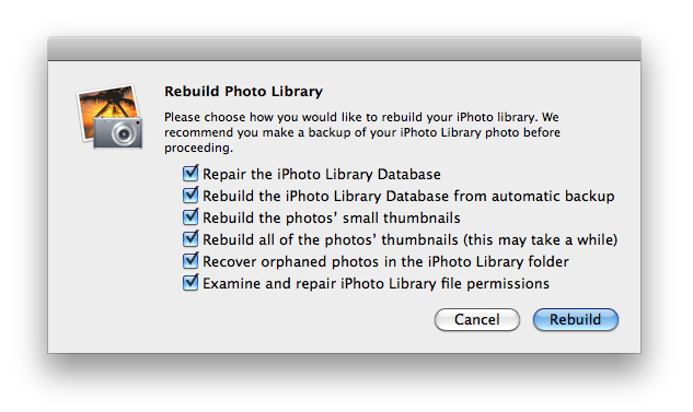 Iphoto library rebuild