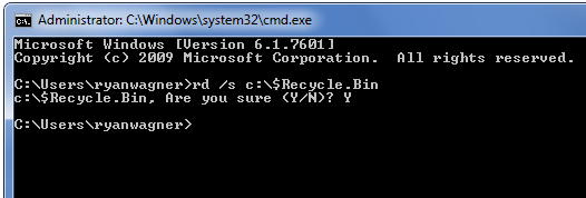 Empty recycle bin command line