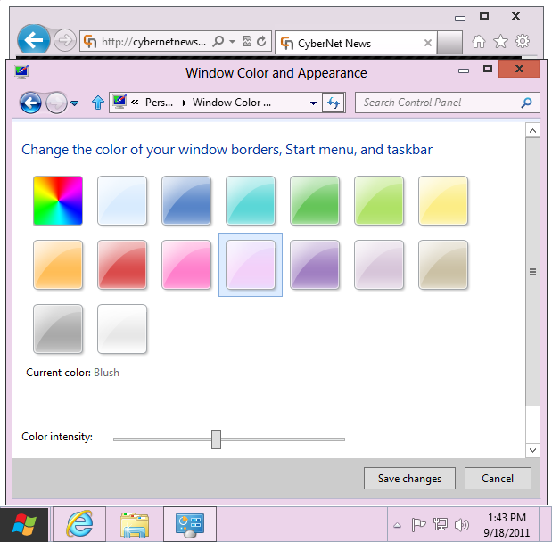 Windows 8 basic theme blush