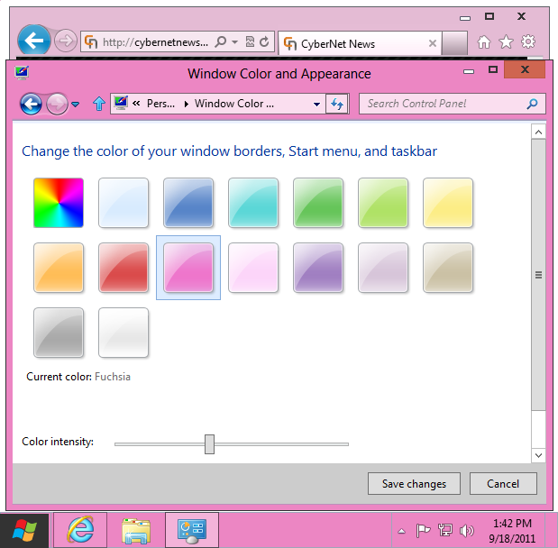 Windows 8 basic theme fuchsia
