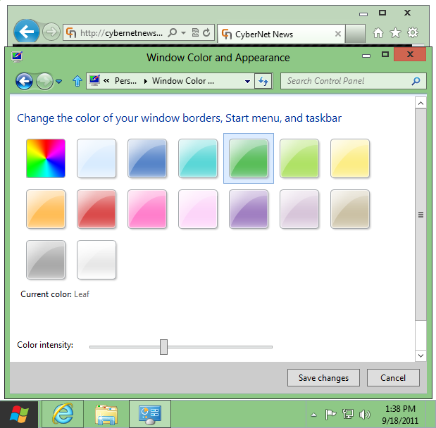 Windows 8 basic theme leaf