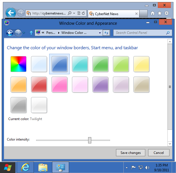 Windows 8 basic theme twilight