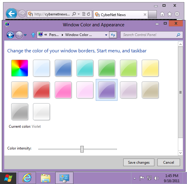 Windows 8 basic theme violet
