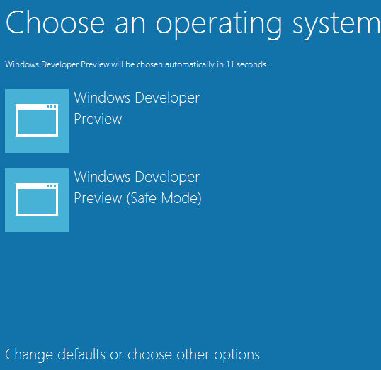 Windows 8 choose os